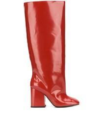 Botas de caña alta de cuero rojas de Marni