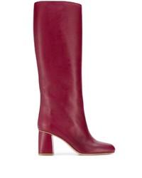 Botas de caña alta de cuero rojas de RED Valentino