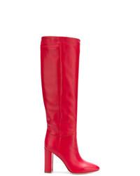 Botas de caña alta de cuero rojas de Twin-Set