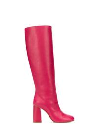 Botas de caña alta de cuero rosa de RED Valentino