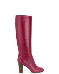 Botas de caña alta de cuero rosa de Valentino