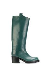 Botas de caña alta de cuero verde oscuro de A.F.Vandevorst