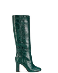 Botas de caña alta de cuero verde oscuro de Aquazzura