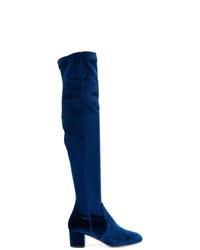 Botas de caña alta de terciopelo azul marino de Aquazzura