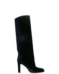Botas de caña alta de terciopelo azul marino de Marskinryyppy