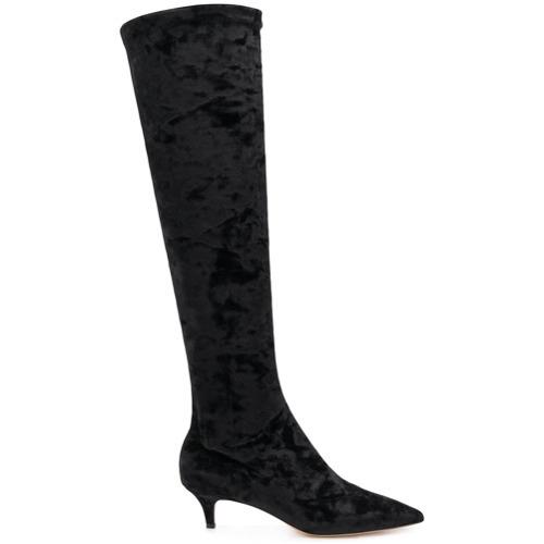 Botas de caña alta de terciopelo negras de Fabio Rusconi
