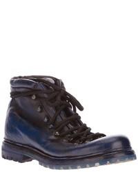 Botas de cuero azul marino de Premiata