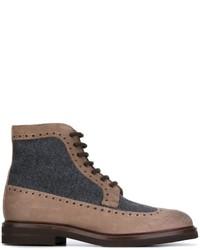 Botas de cuero marrónes de Brunello Cucinelli