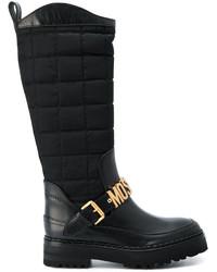 Botas de cuero negras de Moschino