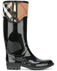 Botas de lluvia de tartán negras de Burberry