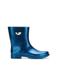 Botas de Lluvia Estampadas Azules de Chiara Ferragni