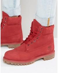 Botas de trabajo de ante rojas