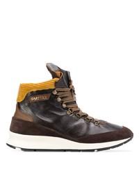 Botas de trabajo de cuero en marrón oscuro de Philippe Model
