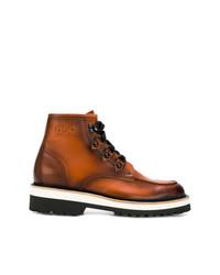 Botas de trabajo de cuero marrónes de DSQUARED2