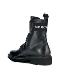 Botas de trabajo de cuero negras de Emporio Armani