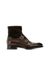 Botas formales de cuero en marrón oscuro de Santoni