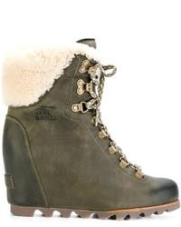 Botas para la Nieve de Cuero Verde Oliva de Sorel