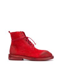 Botas planas con cordones de ante rojas de Marsèll