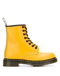 Botas planas con cordones de cuero amarillas de Dr. Martens