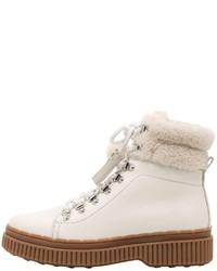 Botas planas con cordones de cuero blancas