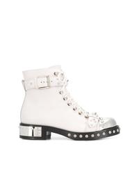 Botas planas con cordones de cuero blancas de Alexander McQueen