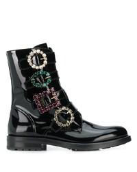 Botas planas con cordones de cuero con adornos negras de Dolce & Gabbana