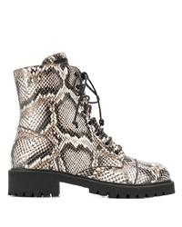 Botas planas con cordones de cuero con print de serpiente marrón claro de Giuseppe Zanotti