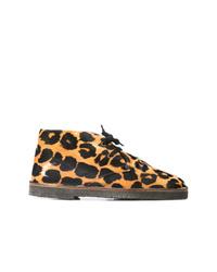 Botas planas con cordones de cuero de leopardo marrón claro de Golden Goose Deluxe Brand