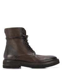 Botas planas con cordones de cuero en marrón oscuro de Marsèll
