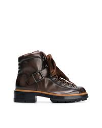 Botas planas con cordones de cuero en marrón oscuro de Santoni