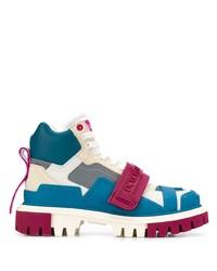 Botas planas con cordones de cuero en multicolor de Dolce & Gabbana