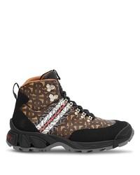 Botas planas con cordones de cuero estampadas marrónes de Burberry