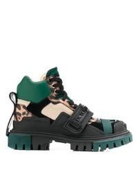 Botas planas con cordones de cuero gruesas negras de Dolce & Gabbana