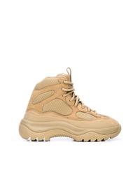 Botas planas con cordones de cuero marrón claro de Yeezy
