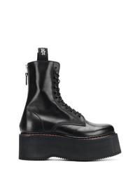 Botas planas con cordones de cuero negras de R13