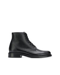 Botas planas con cordones de cuero negras de Saint Laurent