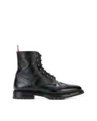 Botas planas con cordones de cuero negras de Thom Browne