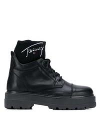 Botas planas con cordones de cuero negras de Tommy Jeans