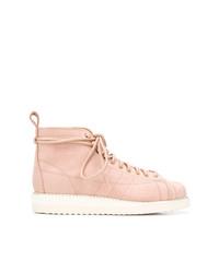Botas planas con cordones de cuero rosadas de adidas