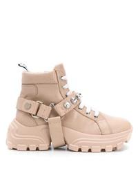 Botas planas con cordones de cuero rosadas de Miu Miu