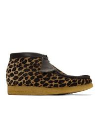 Botas safari de ante de leopardo marrón claro