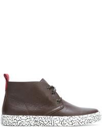 Botas safari de cuero en marrón oscuro de Del Toro Shoes