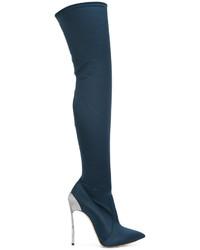 Botas sobre la Rodilla Azul Marino de Casadei