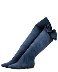 Botas sobre la rodilla de ante azules