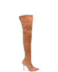 Botas sobre la rodilla de ante en tabaco de MALONE SOULIERS BY ROY LUWOLT