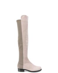 Botas sobre la rodilla de ante grises de Stuart Weitzman