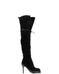 Botas sobre la rodilla de ante negras de Ann Demeulemeester