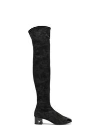 Botas sobre la rodilla de ante negras de Giuseppe Zanotti Design