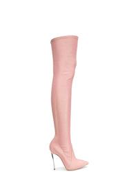 Botas sobre la rodilla de ante rosadas de Casadei