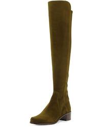 Botas sobre la rodilla de ante verde oliva